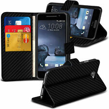Carbon Fibre Wallet Flip Case Cover For Htc One A9