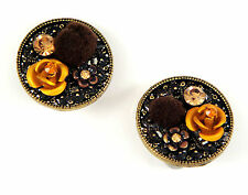 Deco Artisan Chic Rose Floral Clip-On Disc Earrings w/ Gold Swarovski Crystals
