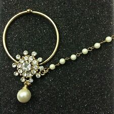 FemNmas Nose Ring Pearl Rhinestones Traditional Nathini | Indian Party Jewel