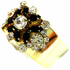 USA Bracelet vintage gold rhinestone CRYSTAL cuff large wide flower black NEW