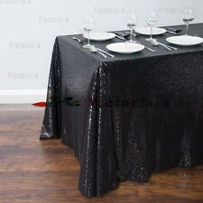 New Black Sequin Table Cloth, Shimmer Sparkly Overlays Tablecloths for Wedding
