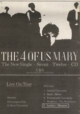 3/2/90Pgn39 Advert: The 4 Of Us The New Single mary & Live On Tour 7x5
