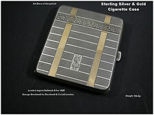 Art Deco Cigarette Case Card Case Sterling Silver & Gold Hallmarked 1928