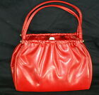Vintage 1960's RED Vinyl Handbag Purse Satchel Two Handles Large