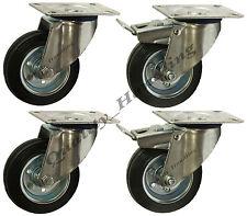 4-100mm 4 inch Black rubber swivel & swivel braked castors heavy duty 100kg each