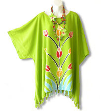 KB614 Kimono Plus Size Floral Caftan Summer Tunic Blouse Top - 2X, 3X, 4X & 5X