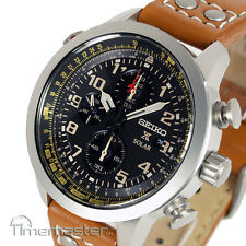 SEIKO SOLAR PILOT CHRONOGRAPH LIGHT BROWN CALF LEATHER STRAP SSC421P1