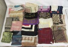 Lot of 19 Silk Scarves/Pocket Squares Anne Klein Vera Echo Bill Blass G. Beene