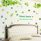 New Waterproof Green Leaves Art Wall Decal Stickers Removable Home Decoration