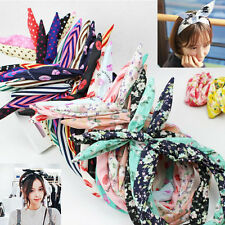 10Pcs Girls Bunny Rabbit Ear Ribbon Metal Wire Headband Scarf Hair Head Band Bow