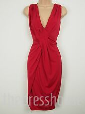 BNWT Savoir Red Ruched Wrap Effect Dress Size 12 Stretch