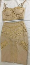 BUTTER CREAM LEATHER GOLD STUDDED SKIRT & TOP SET CELEB BOUTIQUE SIZE XS