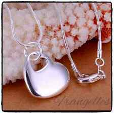 925 Sterling Silver Double Cutout Heart Chain Pendant Necklace Gift UK SELLER