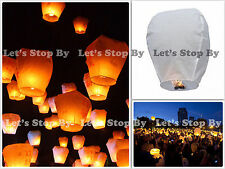 6x White Kongming Wishing Sky Flying Lantern Chinese Paper Candle Wedding Party