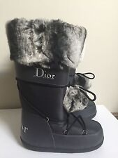 Auth NIB Dior 39  38 - 40 US 8 9  Snow Boots moon boot fur tall nylon waterproof