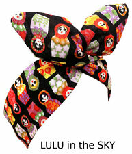 Black with Russian doll Babushka print wire headband