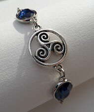 BRACELET DARK SILVER PLATED TRISKALA CELTIC KNOTS FACETED BLUE OVAL GLASS STONES