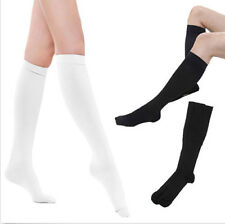 Ladies Women Plain Over The Knee Black White Socks School Thigh High Stockings