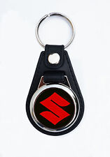 SUZUKI MOTORCYCLES FAUX LEATHER KEY RING / KEY FOB.