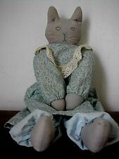 Vintage STUFFED MAMA CAT DOLL Shelf Sitter Handmade Painted Face Bloomers EVC
