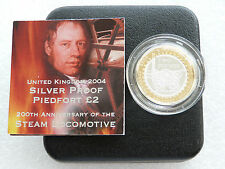 2004 Steam Locomotive Piedfort £2 Two Pound Silver Proof Coin Box Coa