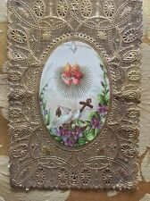 Antique Gold Intricate Lace Love Birds Anchor Burning Hearts Religious Holy Card