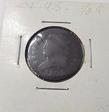 1809 US Half Cent Copper, Classic Liberty, American Coin Free Ship!