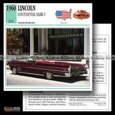 #016.11 LINCOLN CONTINENTAL MARK V (1960) - Fiche Auto Classic Car card