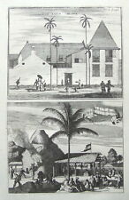 JAKARTA,JAVA,INDONESIA,SCHOOL, BRICKWORKS,CHURCHILL pair antique prints 1744.