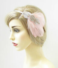 Blush Pink Silver Rhinestone Feather Headpiece Bridal Vintage 1920s Light 212