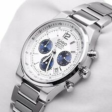 EF-500D-7A White Casio Edifice Day Date Stainless Steel Analog Chronograph New