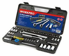 "WORKPRO 52PC Sockets Set 3/8"" 1/2"" Ratchet Drive Metric SAE Size Mechanics Tool"