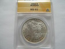 1921 , Morgan Dollar , Anacs , MS 61