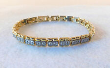 "TWO TONE GOLD & SILVER TENNIS STYLE BRACELET Retro 8"" total length"