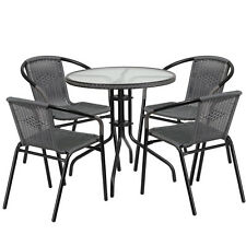 28'' Round Indoor-Outdoor Restaurant Table Set with 4 Gray Rattan Chairs