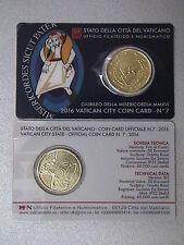 VATICANO 2016 moneta da 50 euro cent  PAPA FRANCESCO in OFFICIAL COINCARD FDC BU