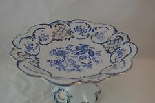 Footed Compote Reticulated Gold Trim Unknown Maker Delft Blue