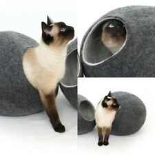 Cat cave bed,house,from 100% wool for pet, Kivikis . Color Dark Grey Size M