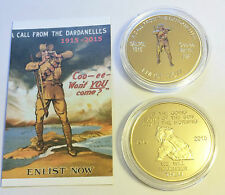 """NEW 2015 GALLIPOLI """"COO-EE"""" 1 Oz COIN C.O.A. LTD 1,000  Finished in 999 24k Gold"""