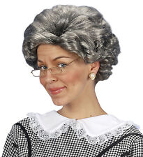 GRANNY AGATHA WIG GREY OLD WOMAN FANCY DRESS ACCESSORY