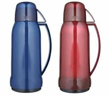 THERMOS JUPITER 38 GLASS LINED DRINKS FLASK + CUP TRANSLUCENT RED OR BLUE 1.0L