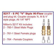 Milton S217 6 PC V STYLE HI FLOW CPLR KIT