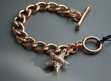 Juicy Couture ROSE GOLD PAVE STAR TOGGLE CHAIN LINK CHARM Bracelet with GIFT BOX
