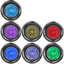 "2"" 52mm Blue Red 7 Color Volt Voltage Car Digital LED Gauge Tint Len"