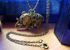 "Antique Bronze Vintage Style Elephant Charm Necklace 30"" Chain & Bell Disc   g2"