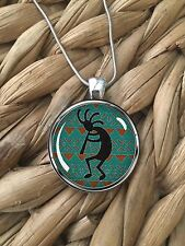 Kokopelli Southwest American Icon Glass Pendant Silver Chain Necklace NEW