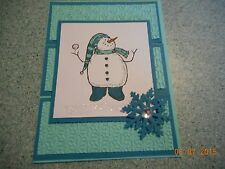 Stampin Up Christmas Card Handmade Blue Snowman Snowflake - KIT