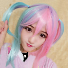 Fashion Short Pink Mix Blue Multi-colors Straight Full Wig Hair Cosplay Party