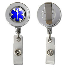 Star Of Life Retractable Reel Chrome Badge ID Card Holder