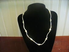 "Vintage LBVYR Faux Pearl & Silvertone Metal Curved Tube Bead 20""  Necklace"